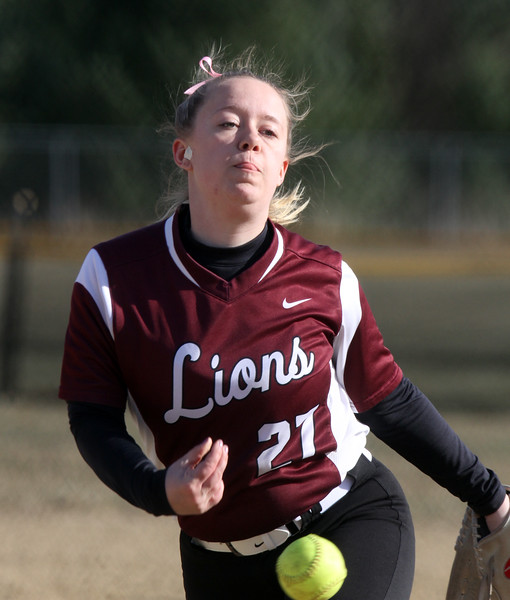 Westford Academy vs Chelmsford softball. Chelmsford pitcher Haley Looney (27).  (SUN/Julia Malakie)
