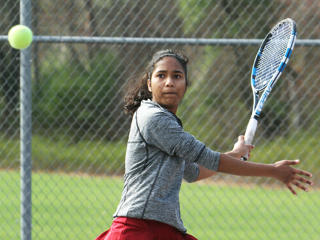 . Westford Academy vs Concord-Carlisle girls tennis. Shivali Shrivastava of Westford Academy in 2nd Doubles match. (SUN/Julia Malakie)