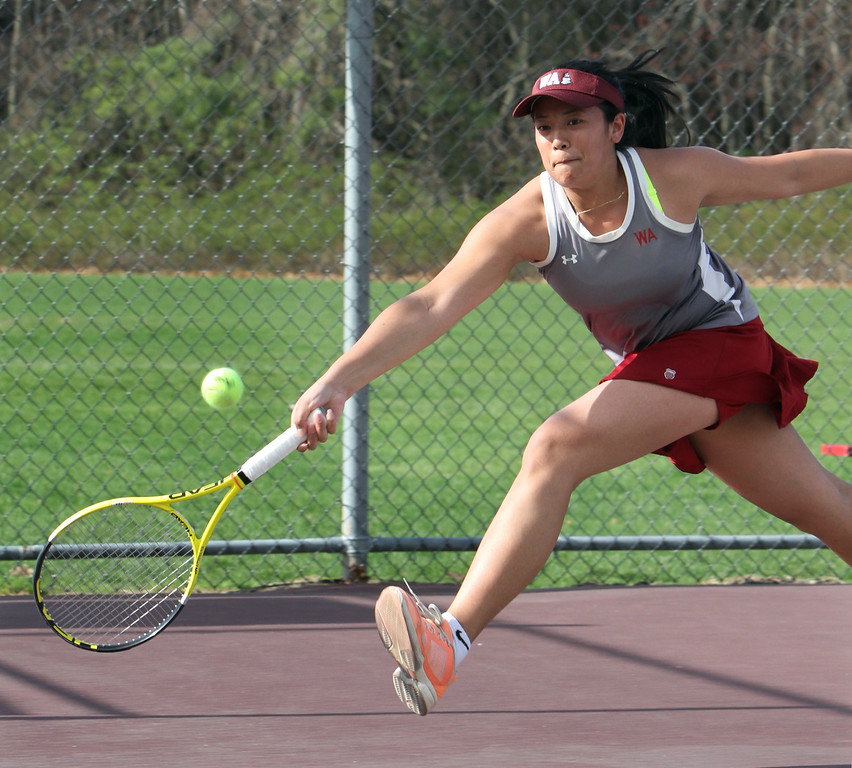 . Westford Academy vs Concord-Carlisle girls tennis. Veronica Op of Westford Academy in 1st Singles. (SUN/Julia Malakie)