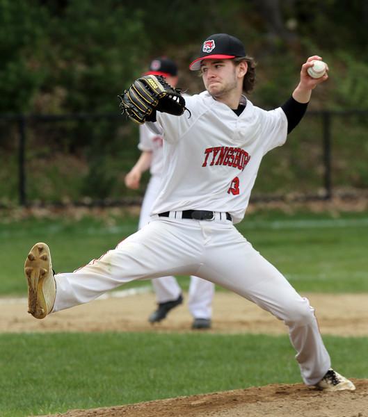 Tyngsboro vs Groton-Dunstable baseball. Tyngsboro starting pitcher Tyler Hapenny (13). (SUN/Julia Malakie)