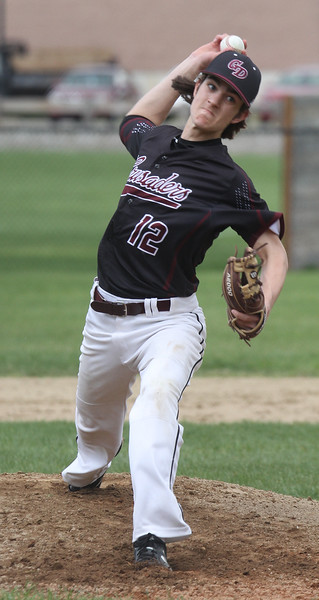 Tyngsboro vs Groton-Dunstable baseball. Groton-Dunstable starting pitcher Nate Glencross (12). (SUN/Julia Malakie)