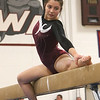 Westford Academy vs Groton-Dunstable gymnastics. Jelina Farrell of Westford Academy on beam.  (SUN/Julia Malakie)