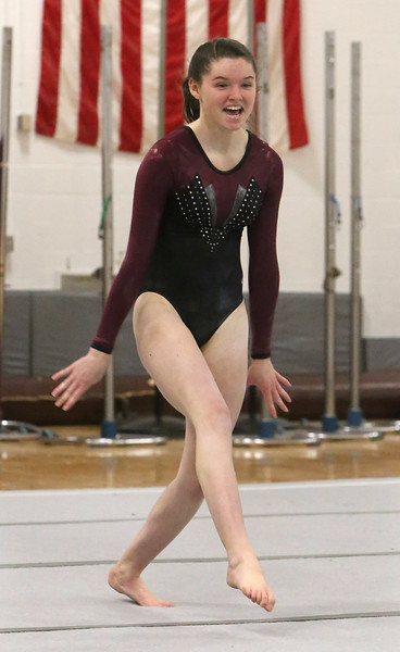 Westford Academy vs Groton-Dunstable gymnastics. Tori Gromann of Groton-Dunstable on floor exercise. (SUN/Julia Malakie)