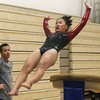 Westford Academy vs Groton-Dunstable gymnastics. Kendra Antcil of Groton-Dunstable on vault. (SUN/Julia Malakie)