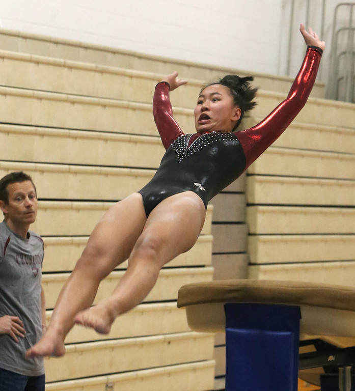 . Westford Academy vs Groton-Dunstable gymnastics. Kendra Antcil of Groton-Dunstable on vault. (SUN/Julia Malakie)