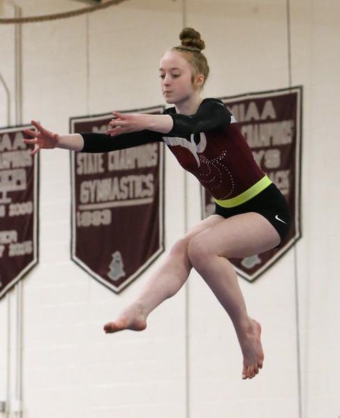 Westford Academy vs Groton-Dunstable gymnastics.  Erin Cragg of Westford Academy on beam. (SUN/Julia Malakie)