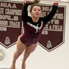 Westford Academy vs Groton-Dunstable gymnastics. Jelina Farrell of Westford Academy on bars. (SUN/Julia Malakie)