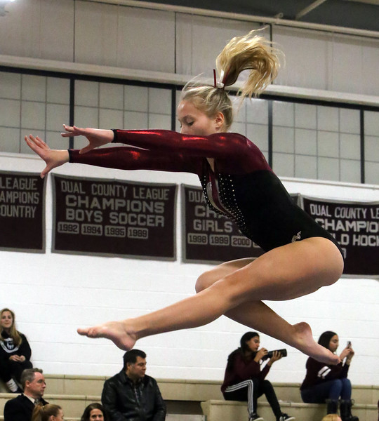 Westford Academy vs Groton-Dunstable gymnastics. Nastia Subaciute of Groton-Dunstable on beam. (SUN/Julia Malakie)