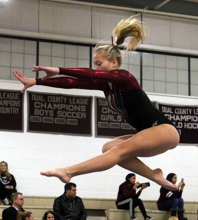 . Westford Academy vs Groton-Dunstable gymnastics. Nastia Subaciute of Groton-Dunstable on beam. (SUN/Julia Malakie)
