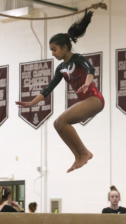 . Westford Academy vs Groton-Dunstable gymnastics. Trisha Chittu of Westford Academy on beam.  (SUN/Julia Malakie)