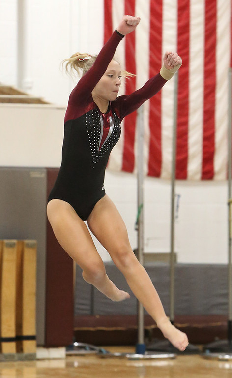 . Westford Academy vs Groton-Dunstable gymnastics. Nastia Subaciute of Groton-Dunstable. (SUN/Julia Malakie)