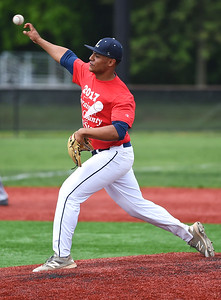 KRISTIN BAUER | CHRONICLE Lorain High School's Julian Rodriguez (18) pitches during the annual Lorain County All Star game on Saturday afternoon, May 27.