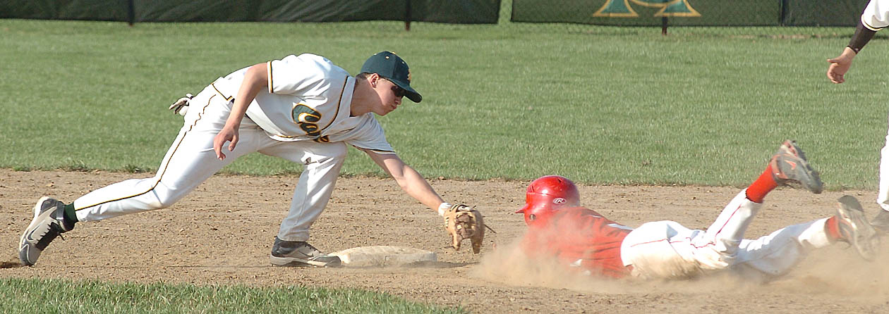 Top of the 6th - Amherst's #2 Austin Waits tags Elyria's #3 out at 2nd base.