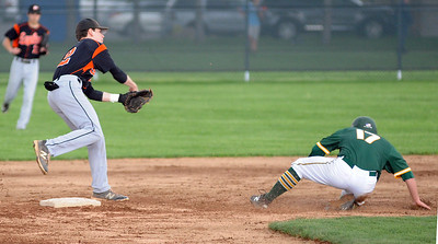 North Olmsted's Clay Rainey turns a double play on Amherst's Kyle Dalzell on May 1.  STEVE MANHEIM / CHRONICLE