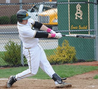 Amherst Tyler Bires hits a two-run homer in fourth inning Apr. 28. Steve Manheim