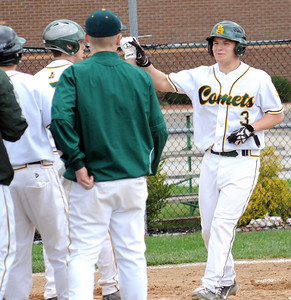 Amherst Robbie Janscura hit a two-run homer in the fourth inning Apr. 28.  Steve Manheim