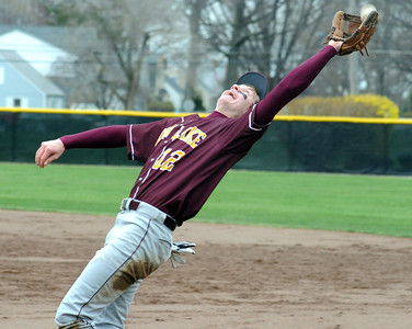 Avon Lake Matt Kohler stretches out to make a catch Apr. 20.  Steve Manheim