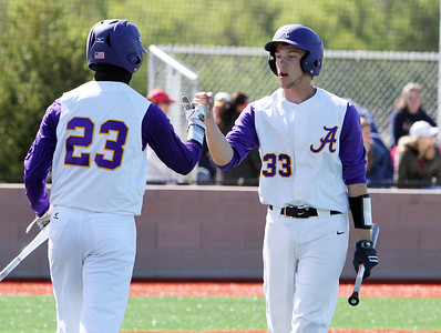 ANNA NORRIS/CHRONICLE Avon's Will Kocar celebrates with teammate Ethan St. Clair after Kocar scored a run for the Eagles on Tommy Kocar's single RBI in the bottom of the second inning Sunday afternoon at Sandusky Sports Park.