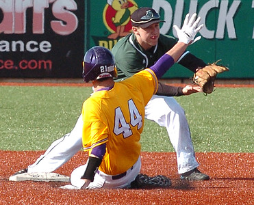 Avon's #44 Donny Kelly is out at secnd as EC's #3 Stephen Sander catchs the ball and steps on the base.