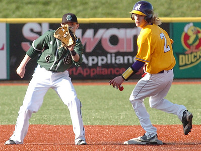 Avon's #2 Bradford Dill is safe at second as EC's #4 Lucke Redmand waits for the ball.