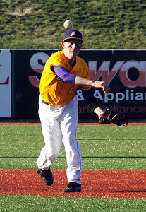 Avon Mike Blanc makes a put out to first base vs Holy Name on Mar. 29 at All Pro Freight Stadium.  Steve Manheim