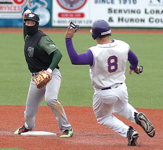 4-17-10 linda murphy  bot of the 3rd - Westlake's #8 Stephen James tags Avon's Josh Pierce out at 2nd & throws to 1st.
