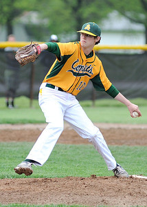 Amherst's Noah Skaldan pitches against Midview. KRISTIN BAUER | CHRONICLE