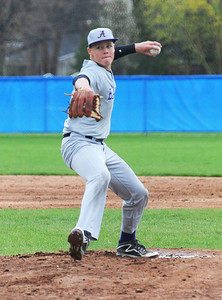 Avon freshman Logan Doenges pitches against Bay Village. KRISTIN BAUER | CHRONICLE