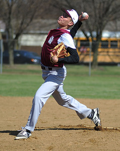 Wellington's Nick Carevic pitches against Black River High School on April 22.  KRISTIN BAUER | CHRONICLE