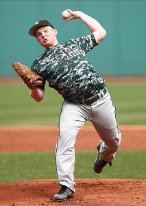 Highland starting pitcher Brandon Waldo pitches during the first inning. AARON JOSEFCZYK/CHRONICLE