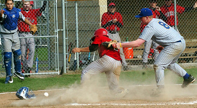 Top of 3rd - Clearview's pitcher #8 Ian Mezlak tags LW's #4 Mike Holick at home plate but cant hang on to the ball, so Mike is safe at home.