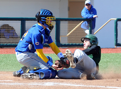 Westlake Kevin Neumann is tagged out at plate by Clearview Ryan Vargo in second inning at All Pro Freight Stadium on Mar. 29.  Steve Manheim