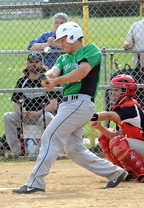 Columbia Jacob Kleinhenz hits an RBI single in second inning May 9.  Steve Manheim