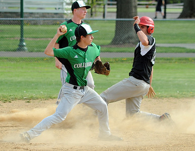 Columbia John Cordell applies the force out on Luthern West Collin McCartney in second inning May 9.  Steve Manheim