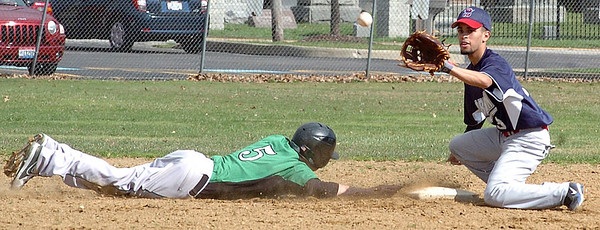 Columbia's #5 Michael Boey slides safely back to second as Oberlin's #3 Nick Gonzalez waits for the ball.