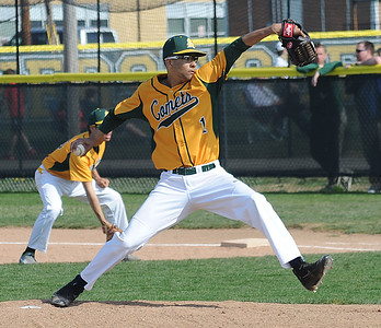 Xavier Moore pitches for Amherst on April 20.  STEVE MANHEIM/CHRONICLE