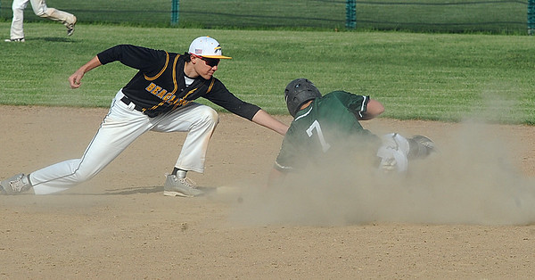 Elyria Catholic's Leighton Banjoff steals second before the tag by Beachwood's Will Friedrich on May 10.  STEVE MANHEIM / CHRONICLE