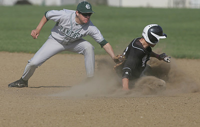 EC's second baseman Ryne St. Marie gets an off-line late throw and tries in vain to tag Padua's #7 Mitchell Zofka at second.  photo by Chuck Humel