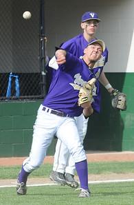 Vermilion pitcher Garrett Koutsopoulos makes a throw to first base May 7.  Steve Manheim