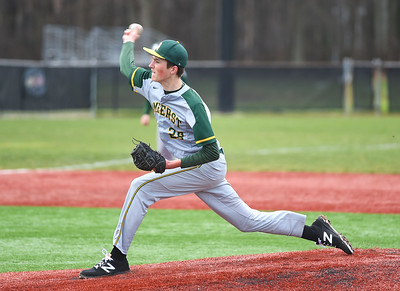 KRISTIN BAUER | CHRONICLE Amherst Steele High School pitcher Jack Faight (28) pitches against Elyria Catholic on Sunday afternoon, April 2.