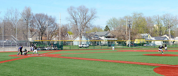Elyria Catholic and Holy Name play at League Park in Cleveland on April 18. STEVE MANHEIM / CHRONICLE
