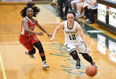KRISTIN BAUER | CHRONICLE          Elyria Catholic High School senior RIley Schill (12) takes the ball down the court as Parma High School senior Zakiyah Wesley (14) guards her on Wednesday night, Dec. 9.