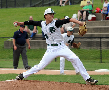 Andrew Abrahamowicz pitches for Elyria Catholic in a regional semifinal May 26.  STEVE MANHEIM/CHRONICLE