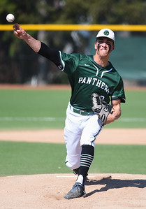 KRISTIN BAUER | CHRONICLE Elyria Catholic High School pitcher Andrew Abrahamowicz (9) pitches against Lutheran West on Tuesday afternoon, May 16.