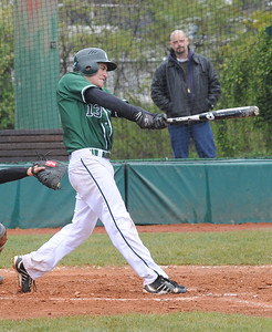 EC Joey Begany hits an RBI single in first inning Apr. 28.  Steve Manheim