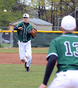 EC Dan Whitacre throws to 1B Joey Begany in first inning Apr. 28.  Steve Manheim