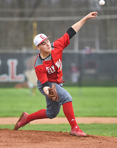 KRISTIN BAUER | CHRONICLE Elyria High School pitcher Freddie Weimer (40) pitches against Lorain on Saturday afternoon, April 15.