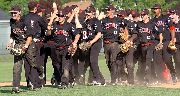 Elyria celebrates their win over North Olmsted.