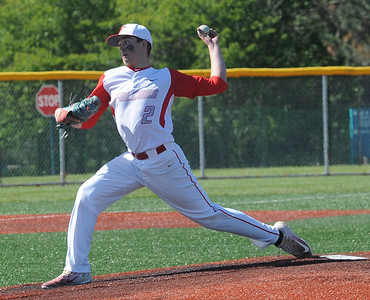 Trevor Damron pitches for Firelands on May 15.  STEVE MANHEIM / CHRONICLE