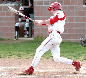 Firelands' #15 Cole Sklarek gets a hit.